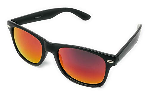 Sunglasses Classic 80's Vintage Style Design (Black, Color Mirror Dark ()