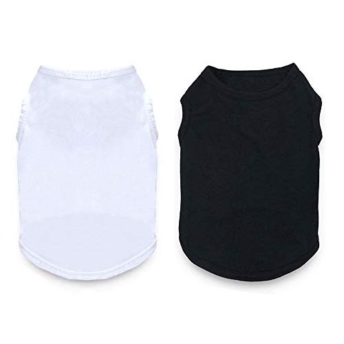Dog Blank T Shirt for Dogs Boy|Girl Cotton Pet Clothes Apparel Fit for Small Extra Small Medium Dog Cat Black & White 2…
