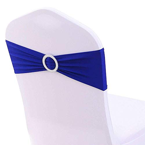 ElegantCircle 100 Pack Wedding Chair Sashes for Wedding Party with Sparkling Buckle Chair Sashes Bows (Royal Blue)