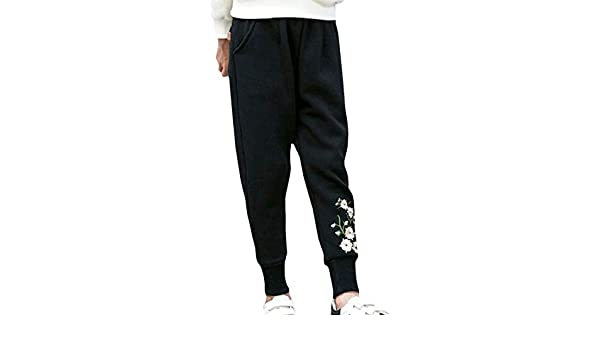 XXBlosom Boy Embroidery Casual Sweatpants Wool Lined Sports Jogging Pants