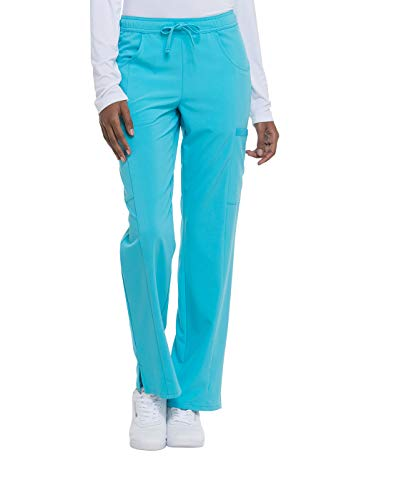 Dickies EDS Essentials Mid Rise Straight Leg Drawstring Scrub Pant, XS Petite, Turquoise from Dickies