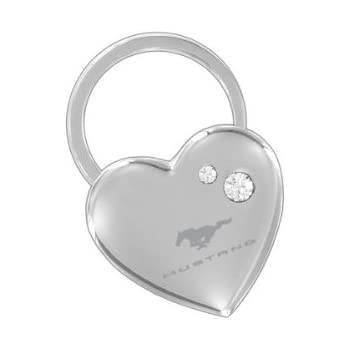 Ford Mustang Heart Shape Keychain W/2 Swarovski Crystals