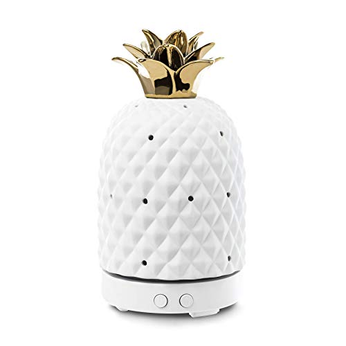 Design Accents Essential Oil Diffuser - Aromatherapy Ceramic Home Decor Cover Aroma Diffuser 100ml, White