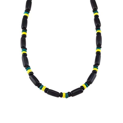 18 - 5mm Jamaican Flag Colored Coconut Wood Beaded Necklace with Black Palm Tree Seeds