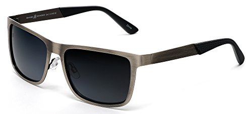 (Samba Shades Polarized Classic Sunglasses Razor Thin Brushed Metal Stainless Gun Metal Steel)
