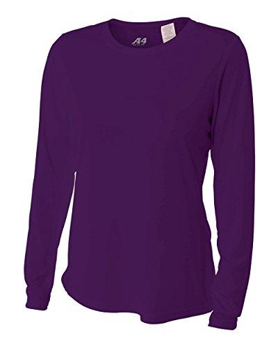 donna con Cooling a lunghe scollo righe a maniche da a Performance shirt T bianche V Purple HEqRwAR