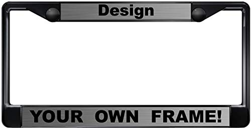 Custom License Plate Frame - Custom Personalized Black Metal Car License Plate Frame with Free caps - Steel/Black