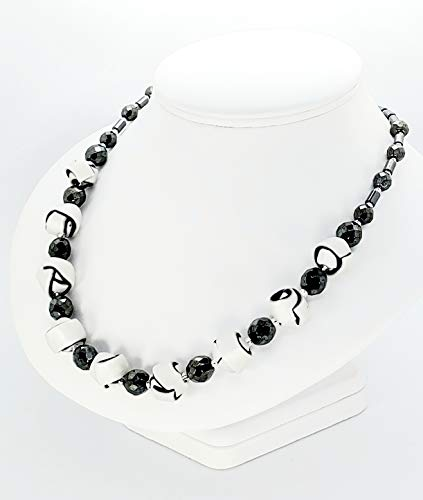 Black and White Strip Ball Necklace Handcrafted Polymer Clay Shiny Glass Beads Toggle Clasp Lightweight