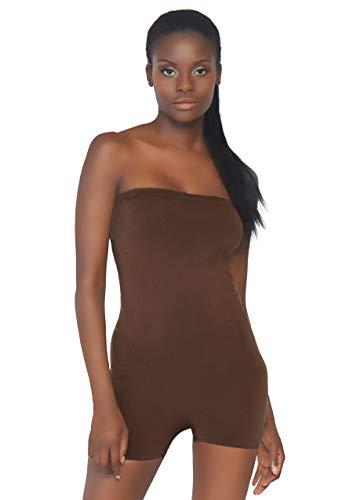 Leg Avenue Women's Lingerie Seamless Opaque Microfiber Strapless Romper, Deep Medium/Large