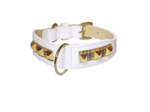 Poochberry Tapered Dog Collar,  Rivets, Small Size 9-11, White with Checkered Stripe and Brass Rivets