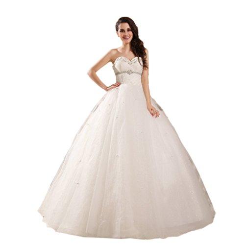 Schnuerung Ausschnitt Weiß Herz Dearta Brautkleider Ballkleid Damen Kleidungen Aermellos Bodenlang Tuell qg1A0