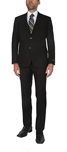P&L Men's 10-colors Slim Fit Two-piece Single Breasted 2-button Suit Jacket Pants Set,Black,40 Long / 34 Waist - Black Italian Suit