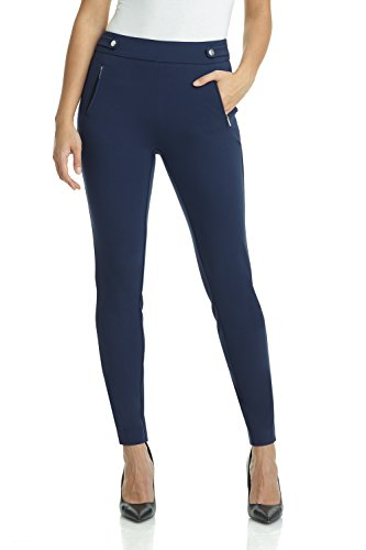 Rekucci Women's Secret Figure Pull-On Knit Skinny Pant (16,Navy) ()
