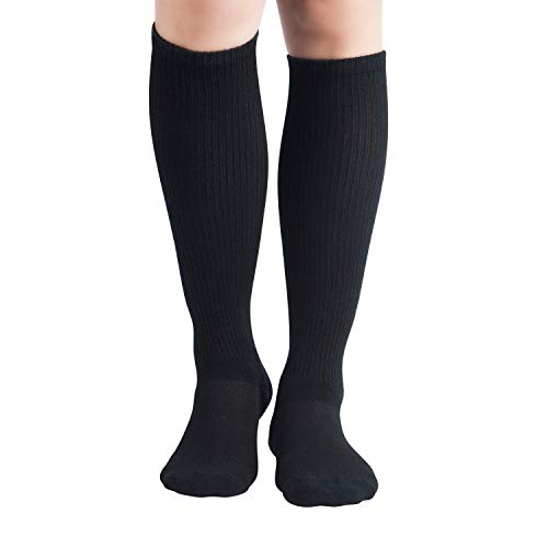 +MD 6Pairs Bamboo Moisture Wicking Compression Socks 8-15 mmHg for Women Knee High Socks 9-11 Black