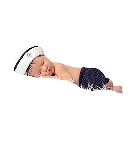 Pinbo Newborn Baby Photo Prop Crochet Knitted Sailor Navy Anchor Hat Pants