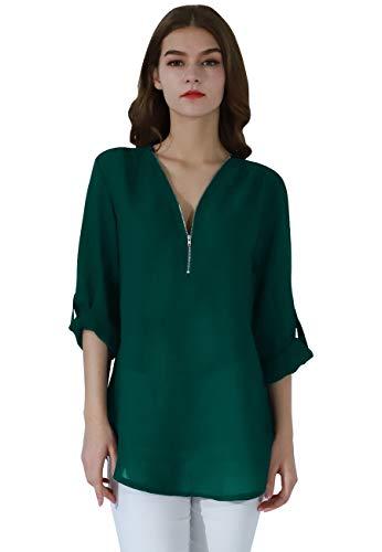 (OMZIN Ladies 2019 V-Neck Blouse 3/4 Sleeve Zip Up Chiffon Casual Shirt Zipper Collar Tops Dark Green M)
