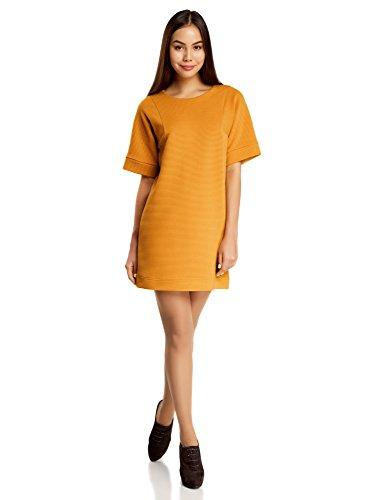 oodji Ultra Mujer Vestido Texturizado de Corte Libre Amarillo (5200N)