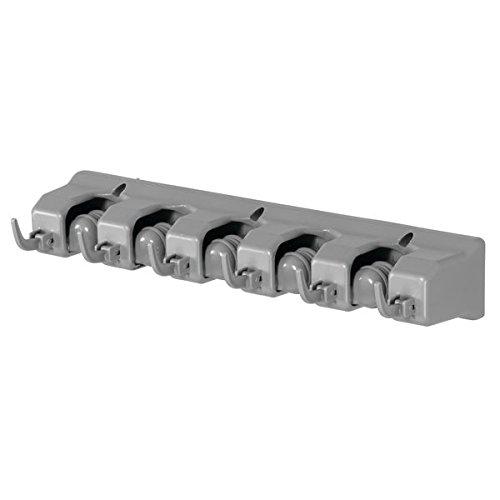 mDesign Supporto porta scope – Pratico sostegno per manici di scopa, moccio, ecc – Porta scope in plastica – grigio MetroDecor 9526MDL