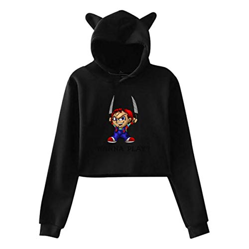 HUO ZAO Womens Chucky Wanna Play Unique Style Crop Top Cat Ear Pullover Black ()