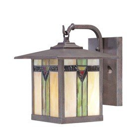 outdoor porch lights ceiling allen roth tiffany style art glass aged bronze outdoor porch light wall lantern