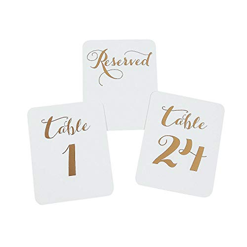 Gift Boutique Gold Table Numbers 1 to 24 + 4 Reserved Cards Single Sided 3.5 x 4.5 Gold Foil for Elegant Party Wedding Reception Centerpieces
