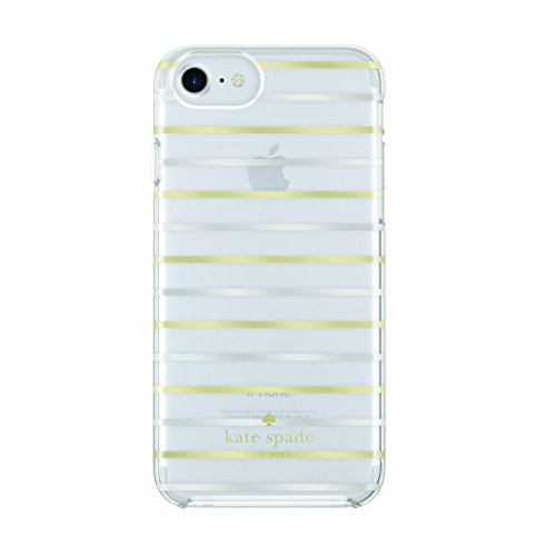 kate spade new york Protective Hardshell Case for iPhone 7 - Surprise Stripe Clear/Gold Foil/Silver Foil -