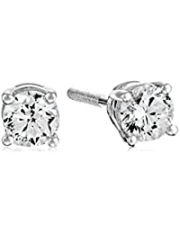 AGS Certified 14k White Gold Diamond with Screw Back and Post Stud Earrings (J-K Color, I1-I2 Clarity)