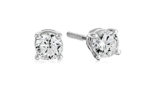 Certified 14k White Gold Diamond with Screw Back and Post Stud Earrings (1/3cttw, J-K Color, I1-12 Clarity) ()