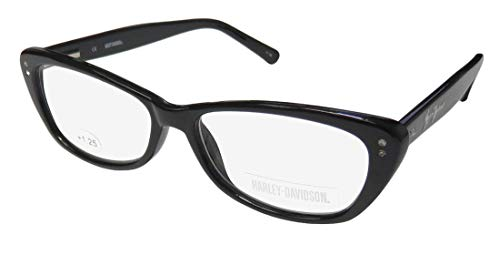Harley-Davidson 3013 Womens/Ladies Cat Eye Full-Rim Strass Flexible Hinges Fancy with Rhinestones Reading Glasses/Readers (52-14-140 / Power: +1.25, Black) ()