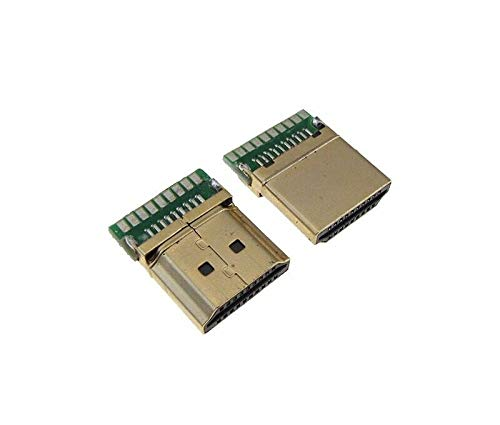 HDMI Male Connector Plug Breakout Board 19P Solder Pad - Pack of 2 ()