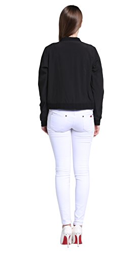 MILEEO Damen Herbst Frühling Bomberjacke Steppmantel Bikerjacke Kurz Jacke Die Kleidung gibt zwei verschiedene Stile