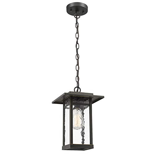 - Outdoor Pendant Light, Beionxii 1-Light Exterior Hanging Lantern in Oil Rubbed Bronze Finish with Water Ripple Glass Shade, Pendant Chain Adjustable