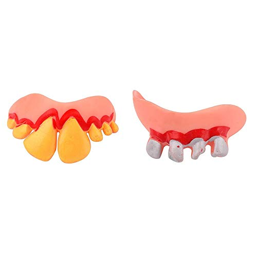 WUAI Halloween Tricks Toy Funny Party Replica Disgust Ugly Denture False Rotten Teeth Model Tooth (C) ()