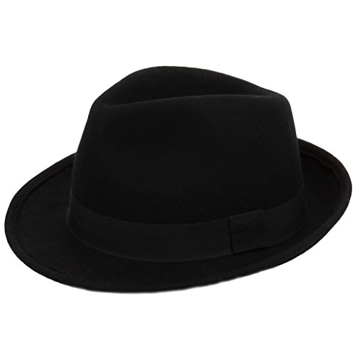 Hawkins 100% Wool Felt Trilby Hat With Grosgrain Band Black or Brown