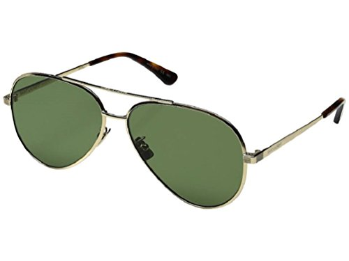 Saint Laurent Unisex Classic 11 Zero Gold/Green - Aviator Laurent Saint Classic 11 Sunglasses