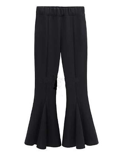 Yfltz Pliegues Black Con Color De Pantalones Mujer Sólido Básicos Chinos qZxaw8q