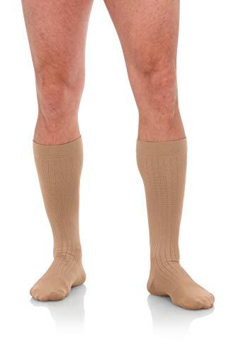 Jomi Compression Men's Socks Collection, 15-20mmHg Microfiber 102 (Medium, Khaki)