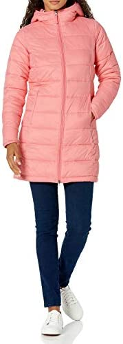 Amazon Essentials Women's Lightweight Long-Sleeve Full-Zip Water-Resistant Packable Hooded Puffer