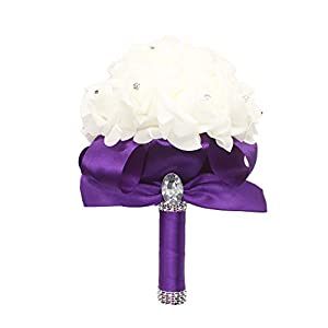 Grace Florist Wedding Bouquet Crystal Pearl Silk Rose Bridesmaid Bouquet, Faux Bridal Bouquet, Artificial Flowers for Wedding, Party (Purple) 102