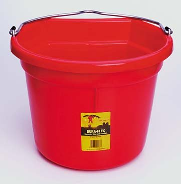 Little Giant Flat-Back Dura-Flex Plastic Bucket, 22-Quart, Black