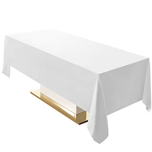 Surmente 60 x 120 Tablecloth for Rectangle Tables Polyester Oblong Table Cloth for Weddings, Banquets, or Restaurants (White) ...