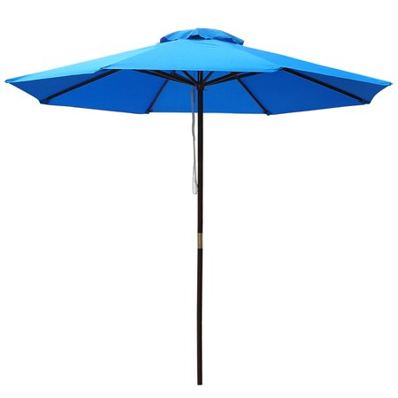 New Backyard Grass Lawn 9' ft Wood Pulley Control Cafe Umbrella Blue (Le Grass Cafe)