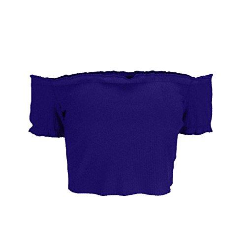 Sleeve Shoulder Clearance T Shirt Tops Tees Blouse Strapless Short Off Sexy Womens Blue Crop Quistal wXXRpqz1