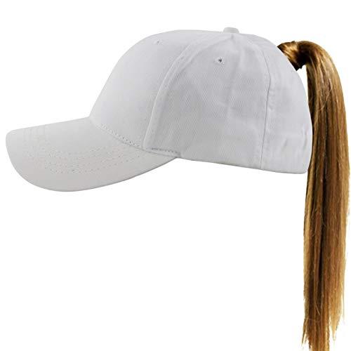 (Muryobao Womens Ponytail Baseball Cap Messy High Bun Ponycap Adjustable Snapback Summer Sun Hat Plain Trucker Dad Hat Cotton White)