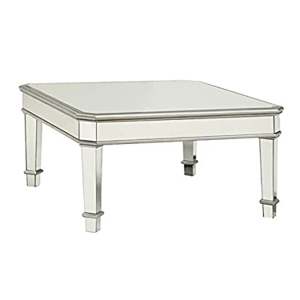 Amazon Com Bowery Hill Square Mirrored Coffee Table In Silver