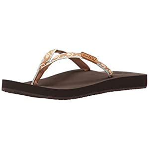 Reef Womens Sandals Ginger | Slim Woven Strap Flip Flops for Women With Soft Cushion Footbed | Waterproof