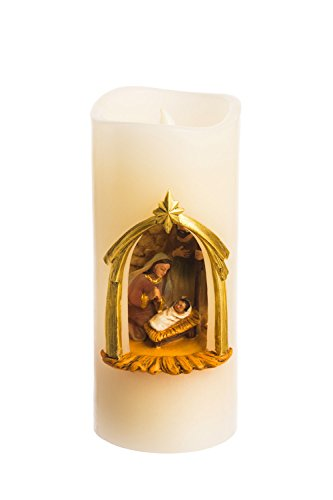 (Cypress Home Holy Family Battery Powered Flameless LED Wax Pillar Candle)