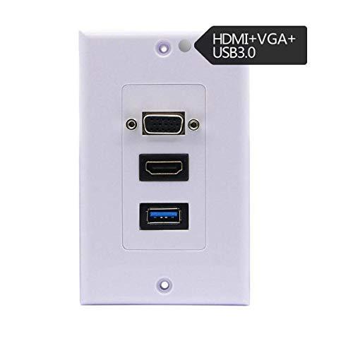 Kework HDMI VGA USB Screw Wall Plate, Composite HDMI VGA USB3.0 Audio Video Power Adapter Wall Plate Panel Socket Outlet, 45.3