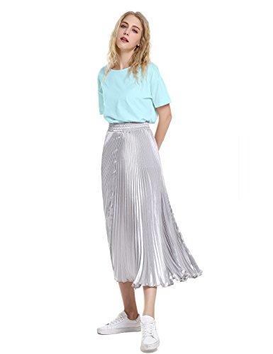 ZAN.STYLE Women's Plus Size Slub Cotton Tunic Tee Shirt Long T Shirt for Leggings Medium Style 2-Light Blue by ZAN.STYLE (Image #6)