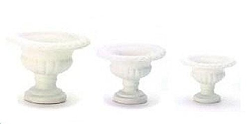 Dollhouse Miniature Set of 3 White Resin Fluted (Resin Fluted)